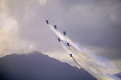Blue Angels at Kaneohe Airshow. KANEOHE, HI - SEPTEMBER 30, 2012.  The U.S. Navy Blue Angels perform aerobatic manuevers on September 30, 2012 at the Kaneohe Bay Royalty Free Stock Photos