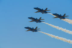 Blue Angels Navy Fighter Jet Performing Aerial Stunts Stock Images