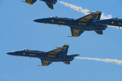 Blue Angels Navy Fighter Jet Performing Aerial Stunts Stock Photography