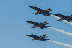 Blue Angels Navy Fighter Jet Performing Aerial Stunts Royalty Free Stock Image