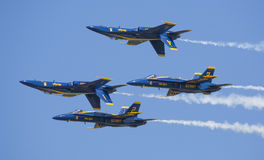 Blue Angels. The Navys Blue Angels Flying In Very Tight Formation at Wings Over South Texas Air Show, kingsville , Texas Royalty Free Stock Photo