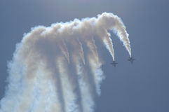 Blue Angels performs maneuvers. Above Lake Washington with Mt Rainier in the background Stock Photography