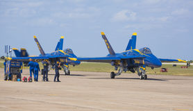 Blue Angels prepare for flight Stock Photos