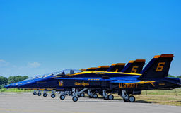 Blue Angels on runway Stock Photos