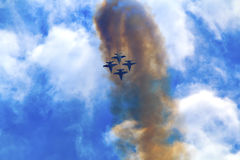 Blue Angels Skies Clouds Seattle Washington. Blue Angels Jets aiirplanes In Formation Fying Over Seattle Washington Stock Images