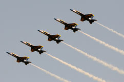 Blue Angels at sunset royalty free stock photos