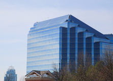 Blue Angled Glass Building Beyond Winter Trees Stock Images