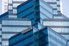 Blue Angled Glass Walls Royalty Free Stock Images