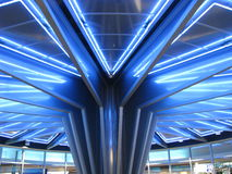 Blue Angles. Blue lights and clever architecture adorn the stairway entrance to the Michigan Room in Cobo Hall, Detroit Royalty Free Stock Image