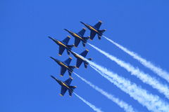 Blue angles delta. The delta formation showing the precesion and grace of the Navy's Blue Angles royalty free stock image