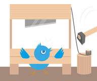 Blue angry bird in guillotine. Conceptual illustration Royalty Free Stock Images