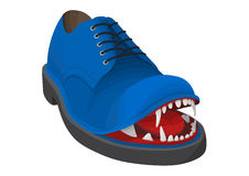 Blue angry shoe Stock Photo