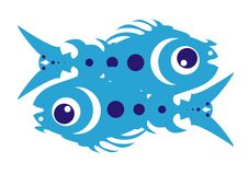 Blue animation fishes Royalty Free Stock Images