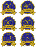 Blue anniversary seals Stock Photo