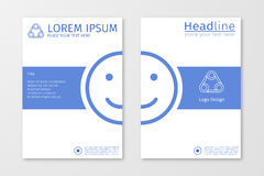 Blue annual outline report business brochure flyer design template vector with emoji or smile. Leaflet cover presentation abstract flat background, layout in royalty free illustration