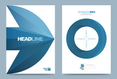 Blue Annual report brochure flyer design template. Vector arrow target style, Leaflet cover presentation abstract technology background, layout in A4 size Stock Photos