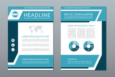 Blue annual report brochure flyer layout template. A4 size. Front and back page. Vector background Royalty Free Stock Images