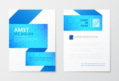 Blue Annual Report Business Brochure, Booklet, Leaflet Cover Flyer Template.  Royalty Free Stock Images