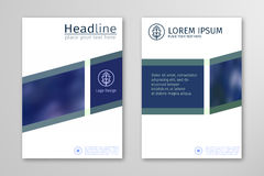 Blue annual report business brochure flyer design template vector. Stock Image