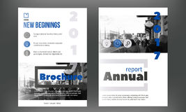 Blue annual report design templates vector set, Leaflet cover for presentation. Business book cover, flyer, professional Royalty Free Stock Images