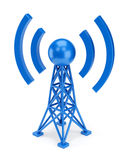 Blue antenna icon. Abstract radio antenna tower icon isolated on white background. Wireless communication technology concept stock illustration