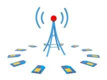 Blue antenna with sim cards Stock Image