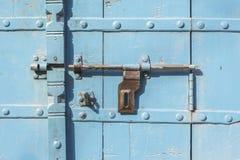 Blue antique door Stock Images