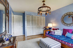 Blue antique furnished bedroom Royalty Free Stock Photo