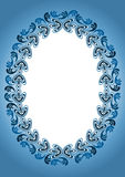 Blue Antique Old Frame. Ornate antique blue frame stamp style Royalty Free Stock Photos