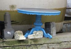 Blue antique table at repository Royalty Free Stock Image