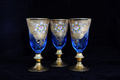Blue Antique Wine Goblets Royalty Free Stock Images
