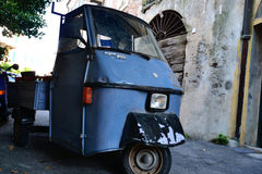 Blue Apecar parked in Italy Royalty Free Stock Photo
