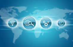 Blue application icons with world map Royalty Free Stock Photography