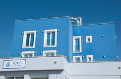 Blue Aqua restaurant building Stock Image
