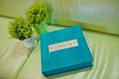 Blue aqua velvet wedding photobook Royalty Free Stock Images
