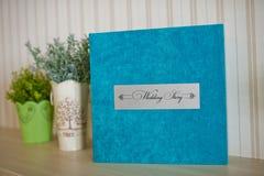Blue aqua velvet wedding photobook Royalty Free Stock Photos