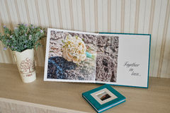 Blue aqua velvet wedding photobook. And album Stock Photography