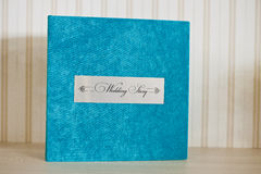 Blue aqua velvet wedding photobook Stock Photography