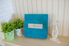 Blue aqua velvet wedding photobook Royalty Free Stock Photography