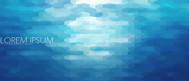 Blue aqua water sea background template. Underwater abstract geometric view ripple wave shining light ocean banner