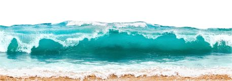 Blue and aquamarine color sea waves and yellow sand with white foam isolated on white background. Marine beach background. Blue and aquamarine color sea waves royalty free stock photos