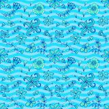 Blue and aquamarine colors doodle vector seamless Royalty Free Stock Image