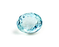 Blue aquamarine gemstone isolated on white Stock Image