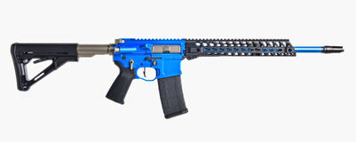 Blue AR15 rifle Royalty Free Stock Photo