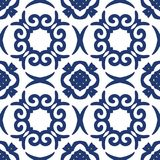 Blue Arabesque Pattern. Vector arabesque pattern. Seamless flourish background with dark blue floral elements. Intricate ornate lines. Arabic decorative design Royalty Free Stock Image
