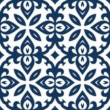 Blue Arabesque Pattern. Vector arabesque pattern. Seamless flourish background with dark blue forged elements. Intricate ornate lines. Arabic decorative design Stock Image