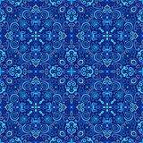 Blue Arabesque Pattern. Vector arabesque pattern. Seamless flourish background with dark blue forged elements. Intricate ornate lines. Arabic decorative design Royalty Free Stock Image