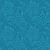 Blue arabic paisley pattern with flowers Royalty Free Stock Images