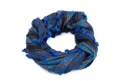 Blue arabic scarf isolated on white background. The blue arabic scarf isolated on white background Royalty Free Stock Photos