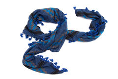Blue arabic scarf isolated on white background. The blue arabic scarf isolated on white background Royalty Free Stock Images